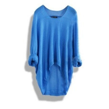 Apricot Batwing Sleeve Loose Asymmetric Casual Sweater for Women [8383749191]