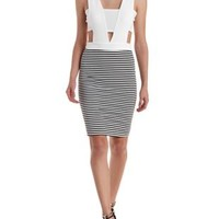 White Combo Striped Cut-Out Bodycon Dress by Charlotte Russe