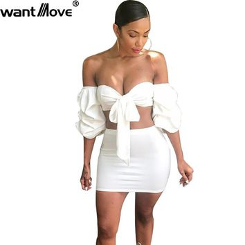 Wantmove women 2018 summer fashion off the shoulder 2 pieces mini dress puff sleeve tie-up sexy club wear dress for women JZ038