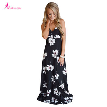 Flower Print Summer Women Dress 2017 Sexy Backless Floor-length Long Party Dress Plus Size Casual Style Dress Woman Clothes
