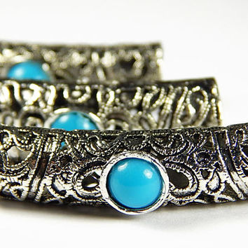 1 Pc - 40x10x12mm Tibetan Silver And Turquoise Blue Stone Tube Bead - Focal Beads - Tube Spacer Beads - Jewelry Supplies