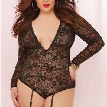 Seven Til Midnight Plus Size Long Sleeve Teddy With Garters Black