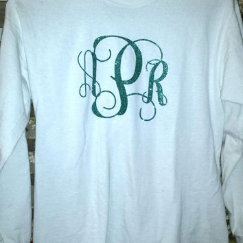 Monogrammed Glitter long sleeve T-shirt. Available in several colors and styles