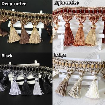Luxury black/purple 10cm curtain tassel Polyester silk fringe trim lace fabric and fringe for curtains DIY decorative trimming