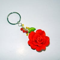 Red Rose Key Chain Alpha Gamma Delta by CloudNineDesignz on Etsy