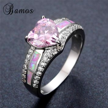 Bamos Stylish Pink Birthstone Love Heart Ring 925 Sterling Silver Filled Pink Fire Opal Rings for Women Wedding Jewelry RS0093