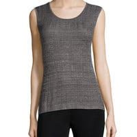 Textured Round-Neck Layering Tank, Size: