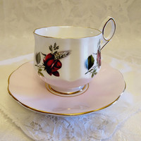 Elizabethan Pink and White Red Rose Fine Bone China Tea Cup and Saucer - England