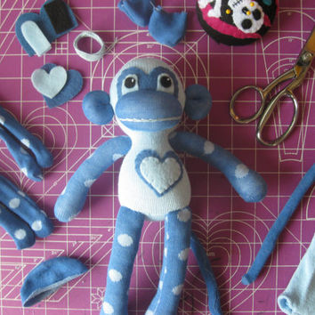 Sock Monkey Plush D.I.Y. Kit No. 851 - No Sewing Machine Needed