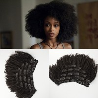 Human Hair 4a/4b/4c Afro Kinky Curly Clip In Hair Extensions