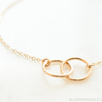 Interlocking Circle Necklace, Infinity Gold Circle Ring, Circle Link Necklace, Infinity Necklace, Eternity Circle Pendant, Gift for Her, Mom