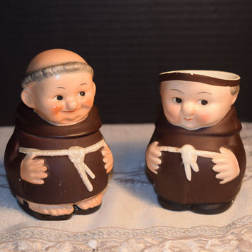 Geobel Friar Tuck Creamer Sugar Monks Set Vintage Hummel Geobel Made In Germany Authentic Porcelain Hand Crafted Painted By German Artisans