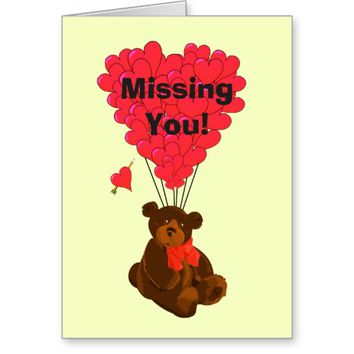 Funny romantic teddy bear missing you stationery note card