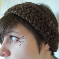Brown Crocheted headband womens hand crocheted ear warmers womens knit fashion accessories