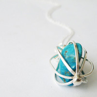 Raw Turquoise Pendant Necklace Handmade Sterling Silver Cage Boho Necklace Turquoise Jewelry by SteamyLab