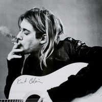Kurt Cobain (Smoking) With Guitar Black & White Music Poster Posters - AllPosters.co.uk