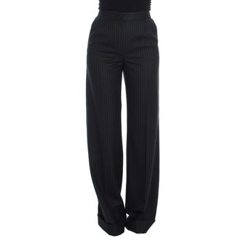 Dolce & Gabbana Black Striped Wool High Waist Pants