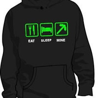 EAT SLEEP MINE MINECRAFT CREEPER KIDS SIZE GIFT HOODIE JUMPER = 1931974276