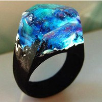 Starry Night Sky Resin & Wood Ring