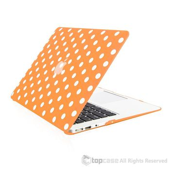 """Polka Dot Design Orange Ultra Slim Light Weight Hard Case Cover for Macbook Air 13"""" Model: A1369 and A1466"""
