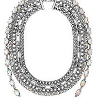 Women's BaubleBar 'Borealis Fringe' Multi-Layer Necklace - Iridescent/ Silver