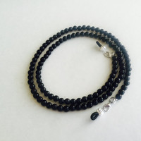 Black Agate Beaded Eyeglasses Chain