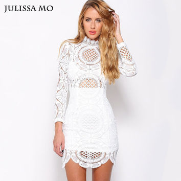 Sexy Club Dress 2016 White / Black  Embroidery Floral Celebrity  Bodycon Bandage  Dress Long Sleeve Slim Hollow Lace Dress