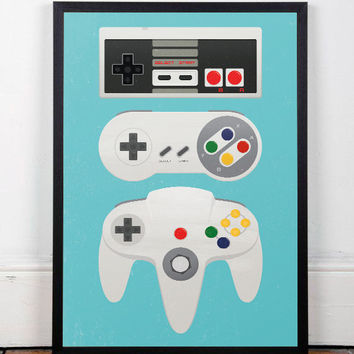 Video game poster, Videogame print, Geek print, Game controllers, Retro poster, Nursery print, Playroom art, Geeky prints, Consoles poster