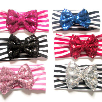 Set of 6 Sequin Bow Headband, Newborn Headband, Floppy Bow Headband, Baby Headband, Infant Headband, Baby Headwrap,Top Knot Headwrap