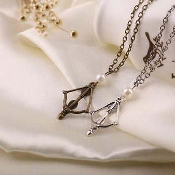2015 The Hunger Games Katniss Everdeen Bow and arrow Necklace For Women Men