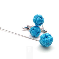 Azure lapel pin in paracord rope, accessory men attire, handmade in Italy.