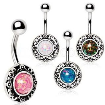 316L Stainless Steel Antique Navel Ring With Adorned Synthetic Opal