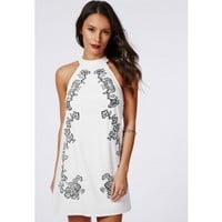 Missguided - Katie Chiffon Embroidered Shift Dress White