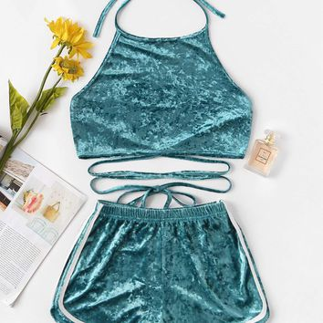 Halter Velvet Top With Elastic Waist Shorts