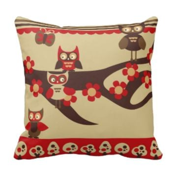 Red and Brown Owls Pillow