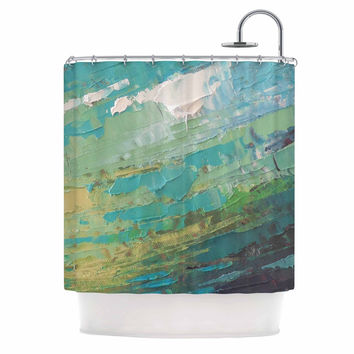 "Carol Schiff ""Sea Dance"" Teal Green Painting Shower Curtain"