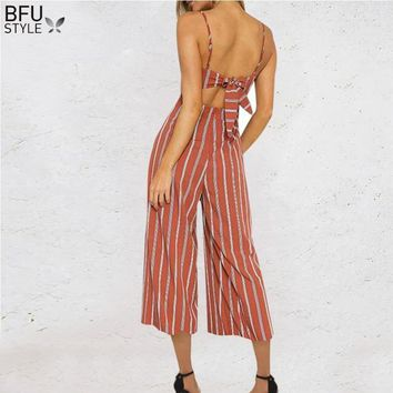 Jumpsuits Women Summer Boho Beach Sexy Spaghetti Strap Long Rompers Playsuits Backless Bow Overalls Wide Leg Cami Palazzo Women