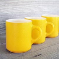Sunshine Yellow Vintage Coffee/Tea Mugs  Set of 3 by LetterKay