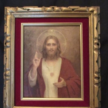 HOLIDAY SALE Jesus Sacred Heart Lithograph Religious Icon Wall Art // Ornate Carved Wood Frame Christ Print