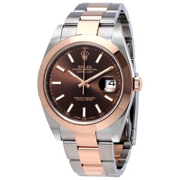 Rolex Datejust 41 Chocolate Brown Dial &18K Rose Gold Mens Watch 126301CHSO