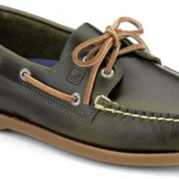 Sperry Top-Sider Authentic Original Cyclone Leather 2-Eye Boat Shoe Olive, Size 8.5M  Men's Shoes