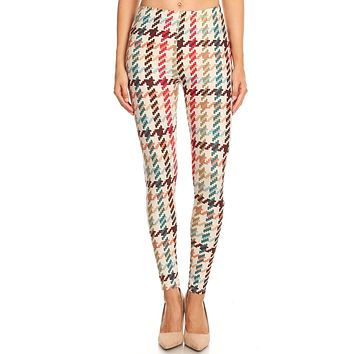 Women's Regular Colorful Houndstooth Pattern Printed Leggings