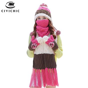 CIVICHIC Woman Warm Set Knit Hat Scarf Glove Mask Thick Mouth Muffle Velvet Cap Pompon Beanies Fleece Mitten Tassel Shawl SH180