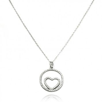 "TIONEER® Heart in Soul Charm Sterling Silver Pendant Necklace with 16""+2"" Extension Sterling Silver Chain"