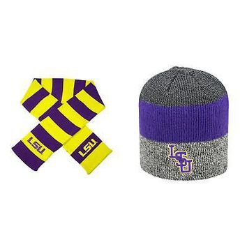new style 0b442 da1c3 Licensed NCAA LSU Tigers Striped Rugby Scarf And Sunset Beanie H