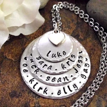 Grandma Jewelry, Mommy Jewelry, Personalized Jewelry, Hand Stamped Jewelry, 4 to 12 names