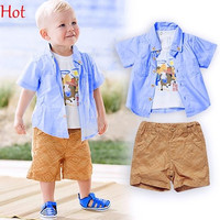 3PC Summer Children Clothing Boy Horse T-Shirt Shirt Shorts Pant Set Baby Set Short Geometry Plaid Print Outfits Baby Suit England SV022966