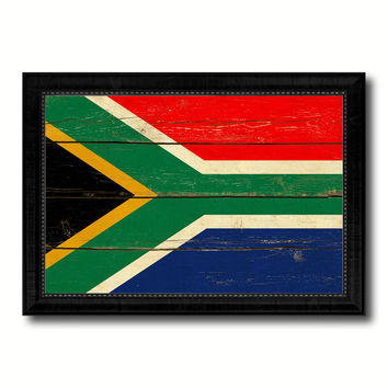 South Africa Country Flag Vintage Canvas Print with Black Picture Frame Home Decor Gifts Wall Art Decoration Artwork