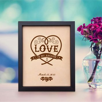 Lik159 Leather Engraved Wedding 3rd anniversary personalized gift recognition love inscription date