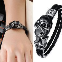 High Quality Genuine Leather Bracelet Titanium Stainless Steel Jewelry Cool Punk Rock Style Skull Men's Bracelets